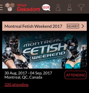Whiplr is the official Montreal Fetish Weekend social app